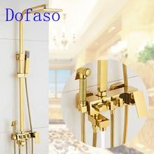 Dofaso golden shower set quality all brass square gold faucet antique bath big rain head 8