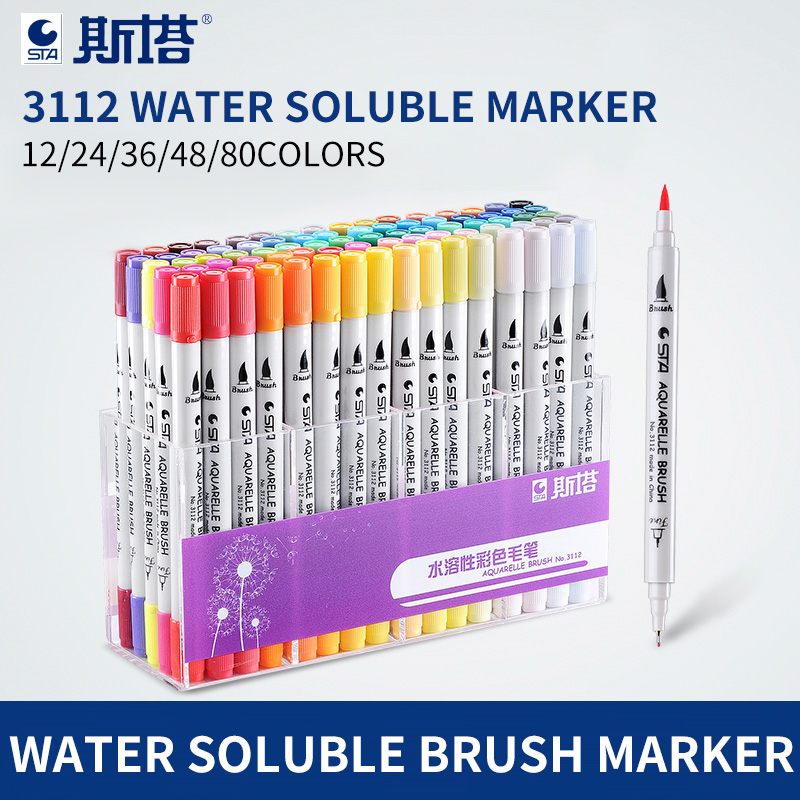 STA 12/24/36/48/80 Color Twin Tips 0.4mm Fine Brush Markers Pen Water Based Ink Sketch Marker Pen For Drawing Manga Art Supplier