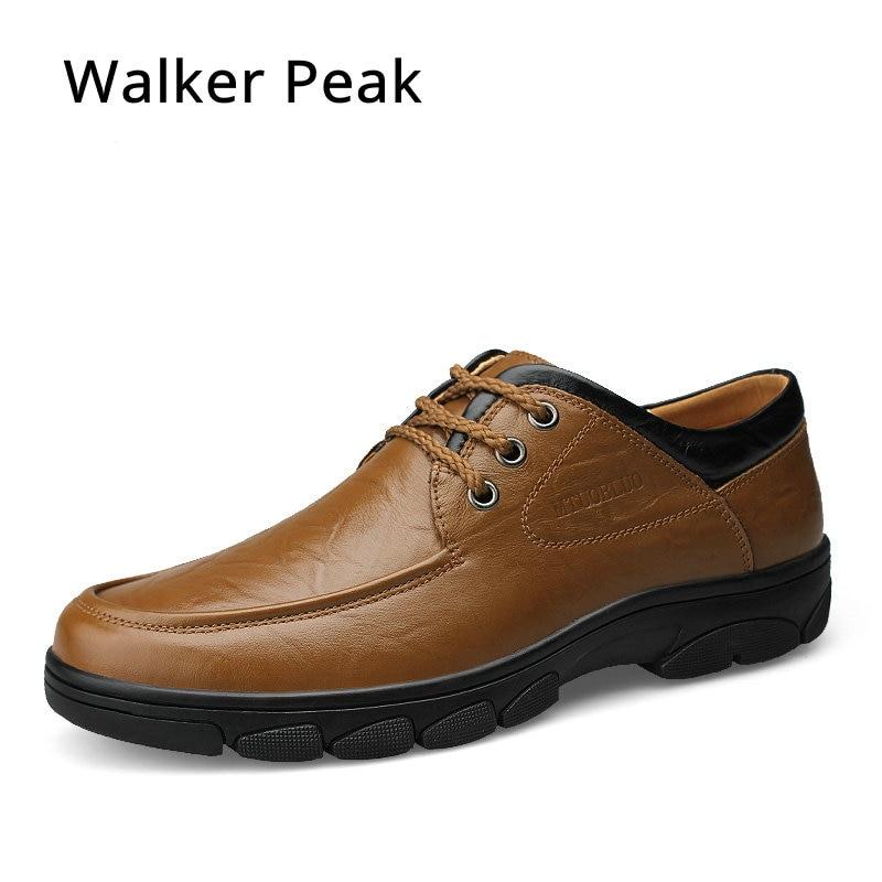 цена на mens shoes casual Genuine Leather moccasins men Men Walking Shoes Male Flat Shoes Business Work Shoes Big Size 36-46 Walker Peak