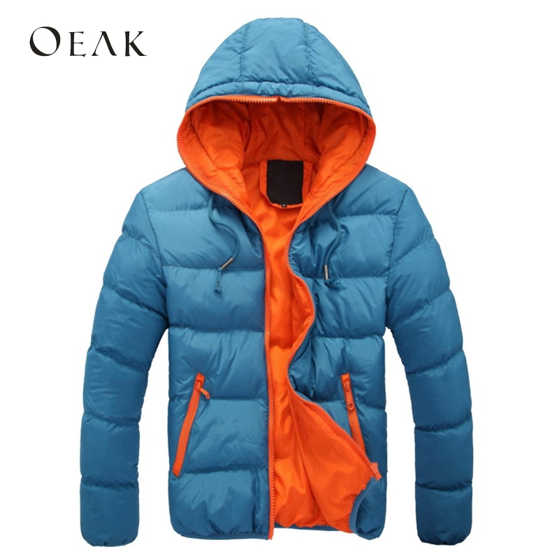 Oeak Patchwork Winter Jacket Men Hooded JacketS Warm Cotton Outwear   Parka   Male Plus Size Coat with Pockets veste homme hiver