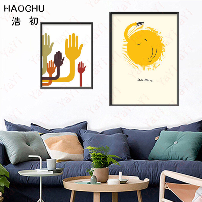 HAOCHU Nordic canvas painting colorful new inspirational alphabet hand sun camera wall art home decoration poster picture gift-in Painting u0026 Calligraphy ...  sc 1 st  AliExpress.com & HAOCHU Nordic canvas painting colorful new inspirational alphabet ...