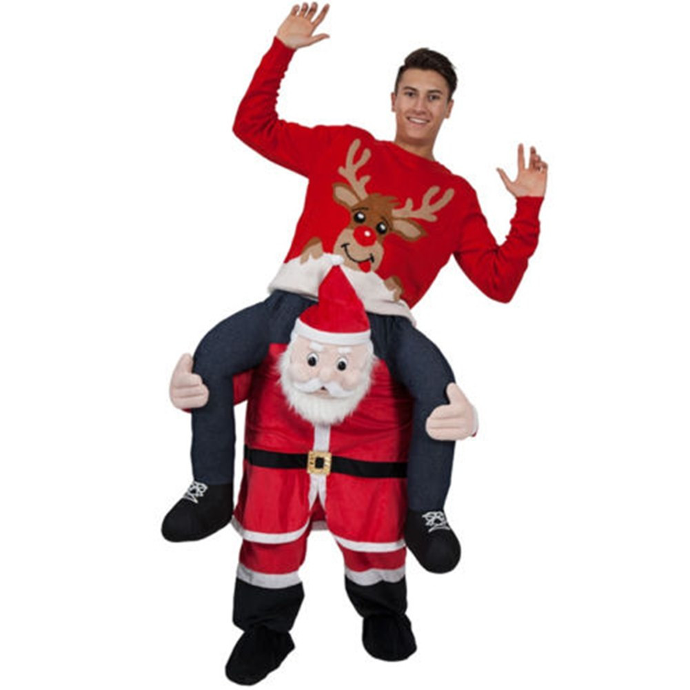 Adult Christmas Santa Claus Costume Cosplay Mascot Costumes Funny Fancy Dress Pants With False Human Leg