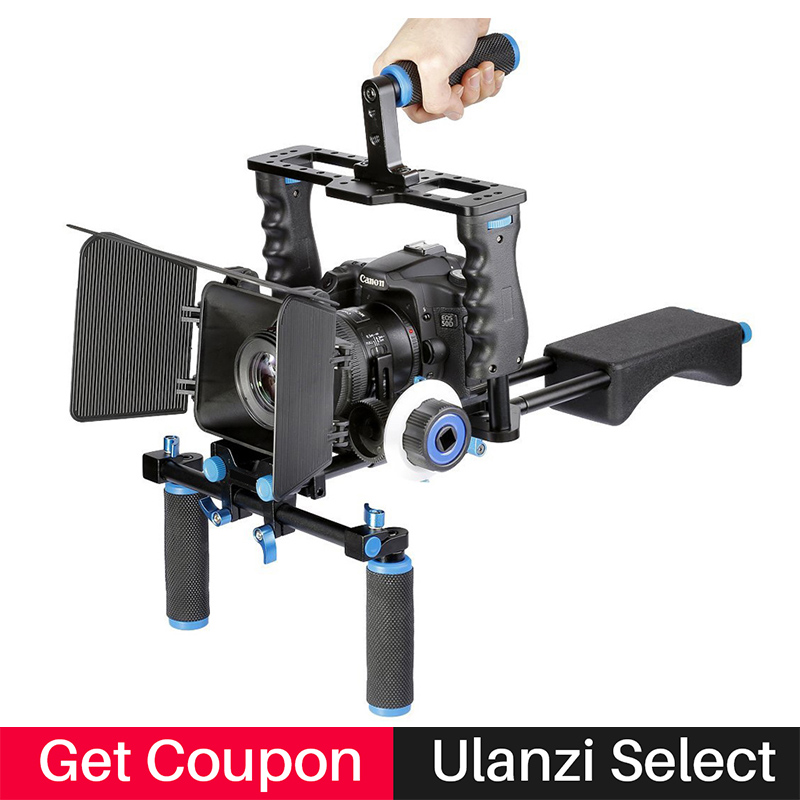 Ulanzi 4 in 1 DSLR Camera Gear Rig Shoulder Mount Kit Stabilizer Video Cage for Video Shooter/Filmmaking for Canon Nikon Sony new professional dslr rig shoulder mount rig filming photography accessories for canon sony nikon slr video camera dv camcorder
