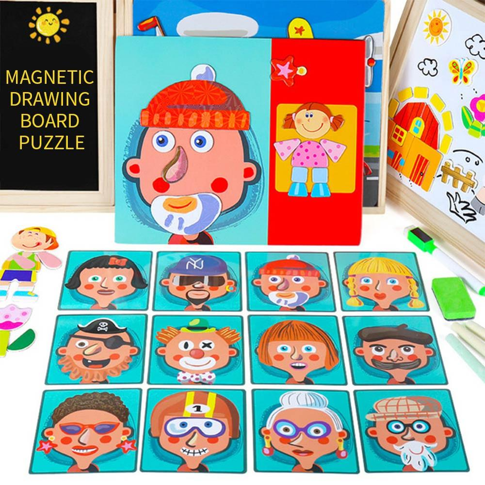 Wooden 3D Magnetic Puzzle Stereoscopic Human Face Animals Baby Dressup Wood Kids Educational Development Toys For Children Gifts