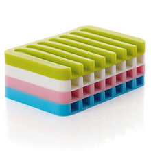 Flexible Bathroom Silicone Soap Dish Storage Holder Soapbox Plate Tray Drain