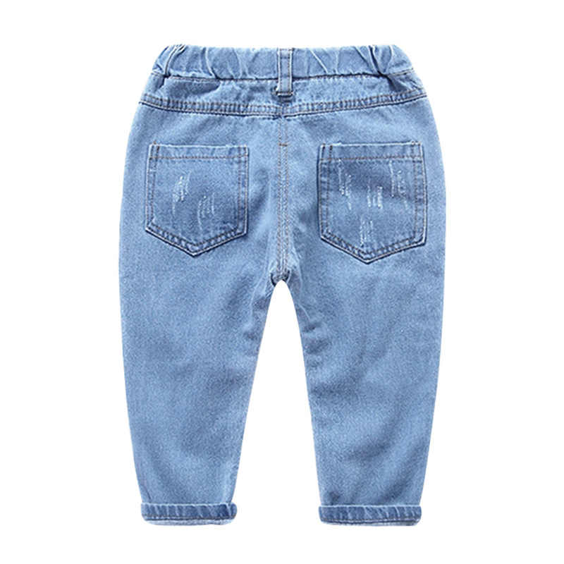 Jargazol/джинсы для малышей модные детские джинсовые штаны с рисунком собаки и вышивкой повседневные рваные штаны для мальчиков