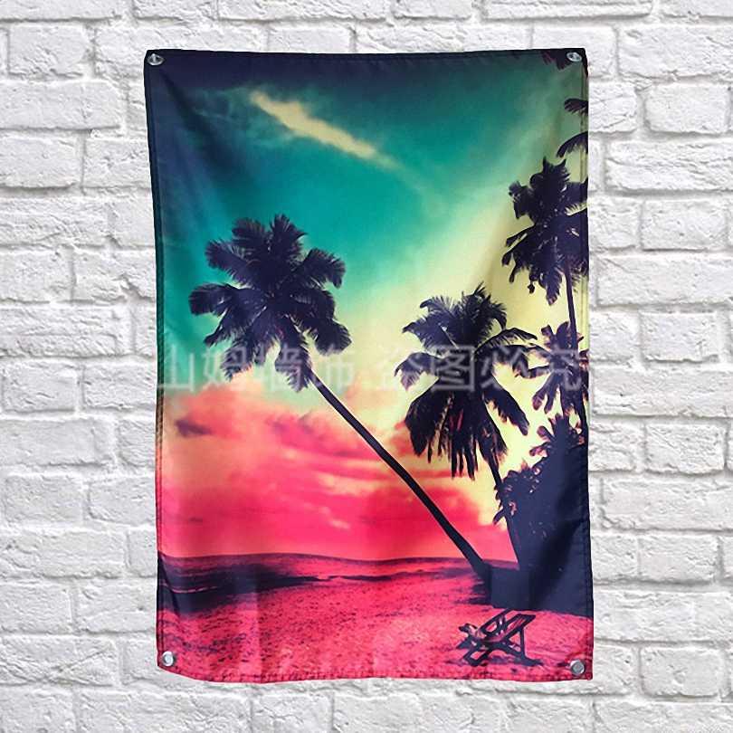 الأحمر coconut شجرة قماش العلم الرايات الجدار ملصق بار قبو البلياردو قاعة استوديو موضوع الجدار شنقا زخرفة المنزل