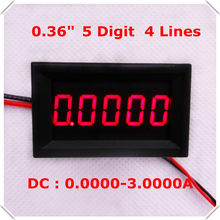 "RD 0,36 ""amperímetro Digital DC 0-3.0000A cuatro cables de 5 dígitos de metro del panel actual pantalla led de Color 4 unids/lote](China)"