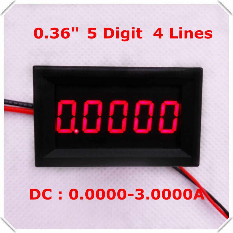 """RD 0.36 """"الأميتر الرقمي تيار مستمر 0-3.0000A أربعة أسلاك 5 أرقام الحالي عداد لوحة led عرض اللون [4 أجزاء/وحدة]"""