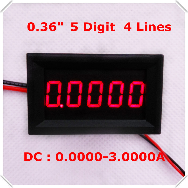 "RD 0.36"" Digital Ammeter DC 0-3.0000A Four wires 5 digit Current Panel Meter led Display Color[ 4 pieces / lot](China)"