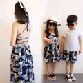 Sexy Family Set Backless Strap Mother Daughter Dresses Clothes Father Son Clothing Sets Family Style Parent-Child Clothing YE10