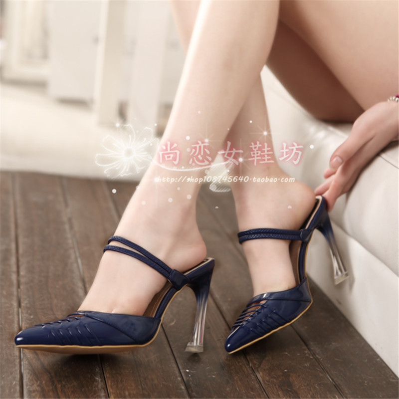 ФОТО Summer Slippers Women Shoes High Heels Instep Strap Shoes Gladiator Pointed Toe Cut Outs Shoes Femme Casual Zapatos Mujer Sapato