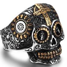Размер 7 15 байкерское кольцо из нержавеющей стали с черепом