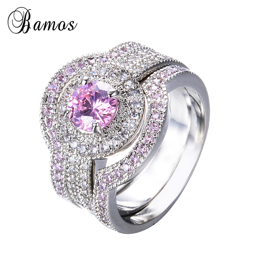 Bamos Luxury Female Pink Round Aaa Zircon Ring Set Fashion 925 Silver  Filled Jewelry Promise Engagement Rings For Women