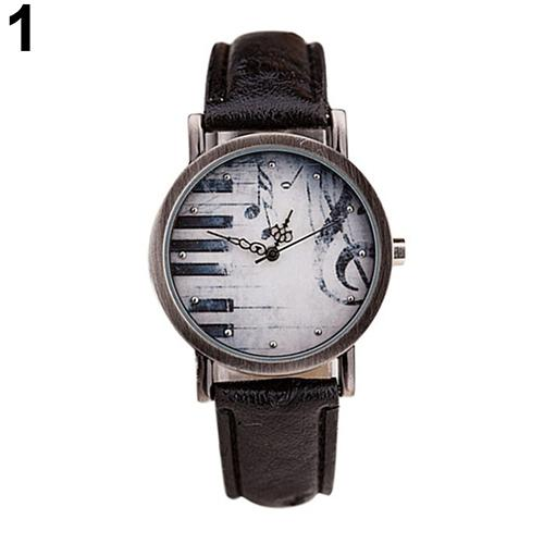 Creative Women Men Vintage Retro Casual Dress Gold Piano Music Watches Leather Quartz Wrist Watch Reloje Mujer Montre Femme