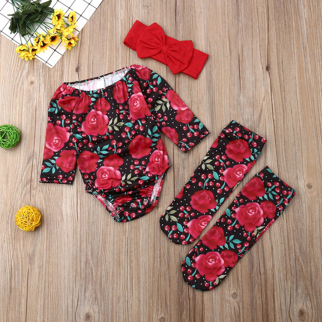 2020 New Infant Baby Girl Flower Bodysuit Jumpsuit+Socks+Headband 3Pcs Outfits Toddler Newborn Baby Girl Clothes Sets