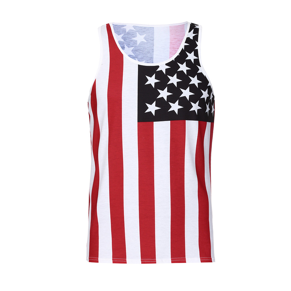 Fitness Men Casual Print American Flag Slim fit V-Neck SleeveLess cotton fabric   Tank     Top   men fashionable Blouse Broadcloth c0506