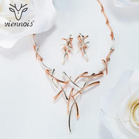 2015 Viennois 18k Gold Plated Earrings Necklace For Women Jewelry Sets
