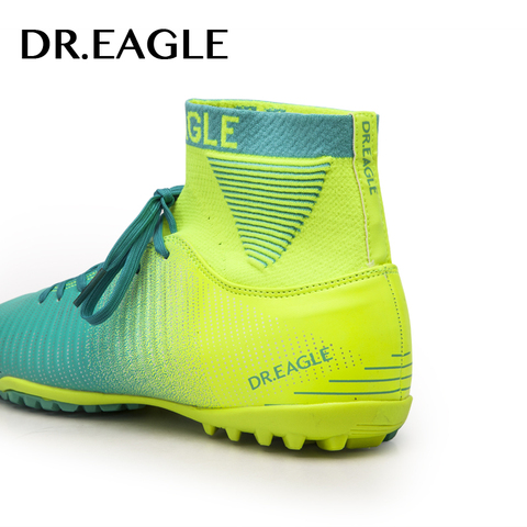 DR.EAGLE indoor turf/TF crampon high ankle futsal football boots sneakers soccer shoes kids shoe cleats boys shoes men sock Karachi