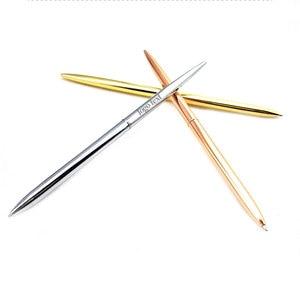 Image 2 - LZN قلم حبر جاف معدني القلم خمر الذهب الفضة الكرة نقطة معدنية القلم لرجال الأعمال الكتابة الهدايا مكتب اللوازم المدرسية شحن مجاني