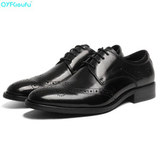 Luxury Classic Mens Brogue Oxfords Dress Shoes Genuine Cow Leather Pointed Toe Lace Up Male Formal Footwear Party Shoe