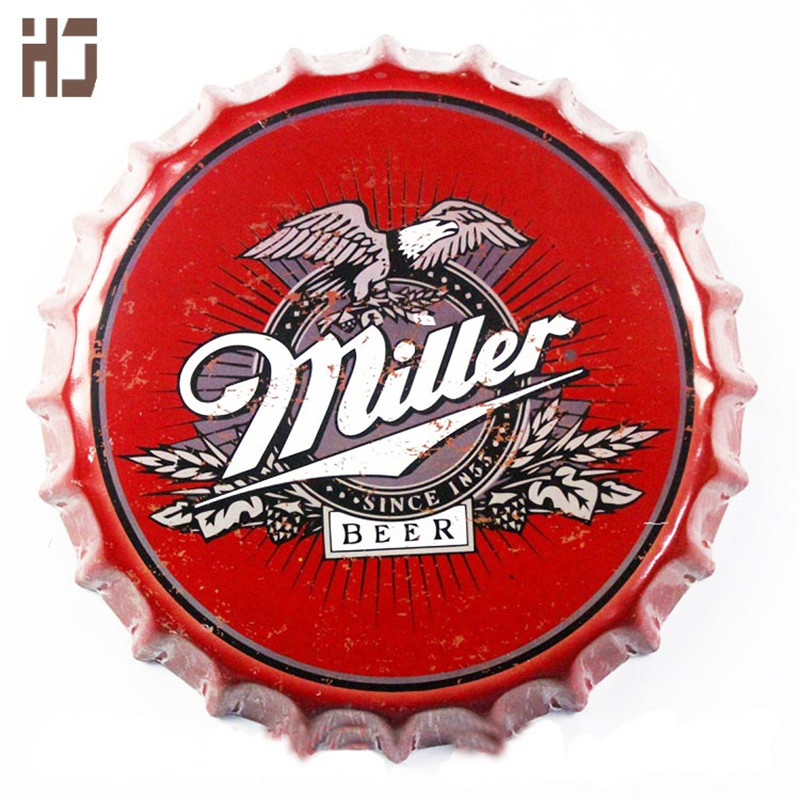 Vintage Tin Sign 35cm around Miller bottle Beer Sign Bar pub home Wall Decor Retro Metal Art Poster