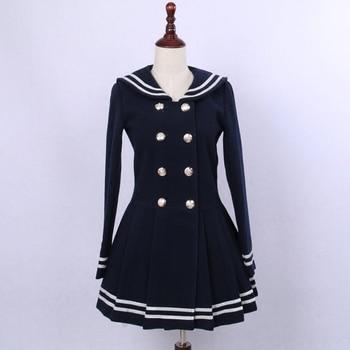 Cute Double Breasted Women's Wool Coat Classic Sailor Collar Winter Coat