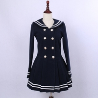 Cute Double Breasted Women S Wool Coat Classic Sailor Collar Winter Coat