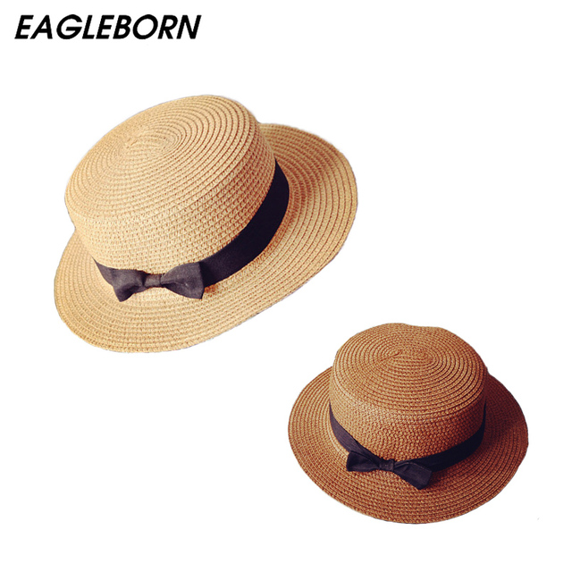 EAGLEBORN Lady Boater sun caps Ribbon Round Flat Top Straw beach hat Panama Hat summer hats for women straw hat snapback gorras