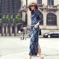 Бесплатная доставка 2015 женщина тонкая талия джинсовые цельнокроеное платье парадный вечерний костюм show тонкая талия Жан длинное платье