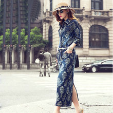 Free shipping 2015 female slim waist denim one-piece dress full dress show thin waist jean long dress