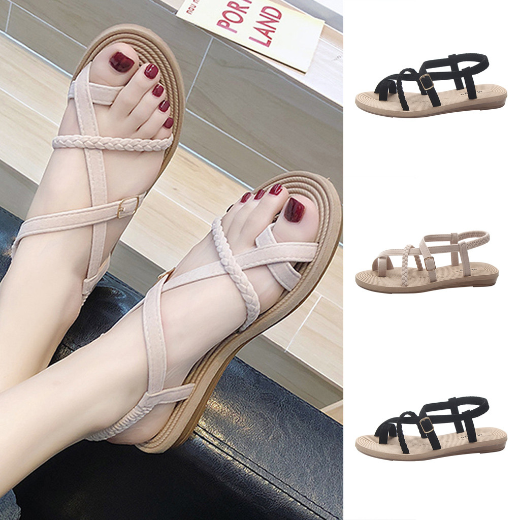 Women's Sandals Spring Summer Ladies Rome Shoes Flat Heel Sandal Wild Cross Straps Clip Toe Beach Shoes Elastic Band Loafer