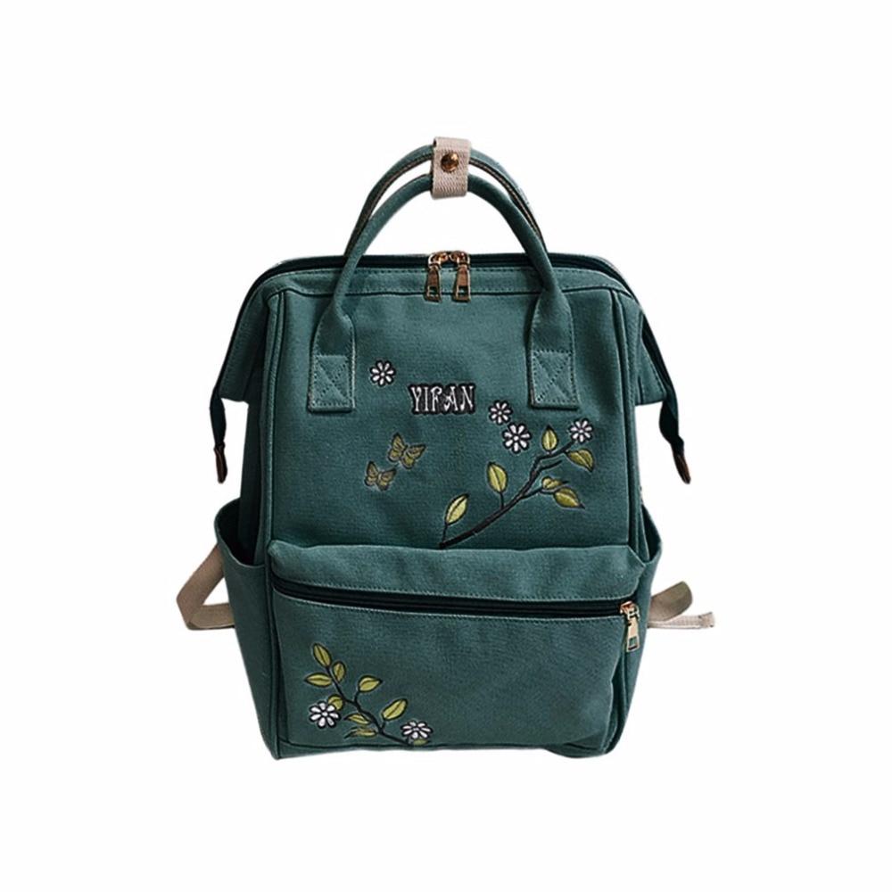 Women Vintage Embroidery Backpack Large Capacity Canvas Backpack Leisure Satchel Adjustable Shoulder Bag With Handle