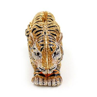 Dames cristal sac de soirée de luxe diamant embrayage sac à main fête sacs tigre forme mariage mariée à la main jour embrayages sac de bal or