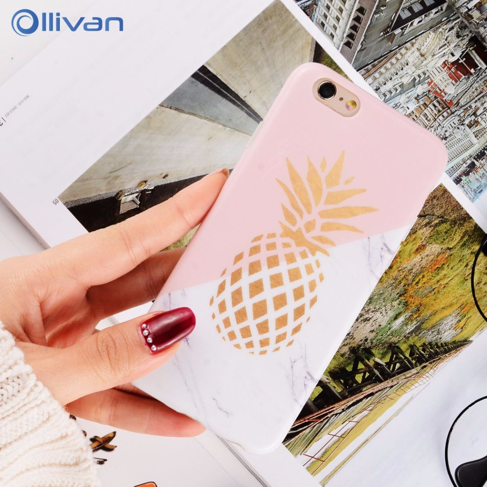 Galleria fotografica Ollivan 6 s Gold Pineapple Marble case for iphone 6s case silicone soft TPU back cover for iphone 6s 6 plus fundas coque capas