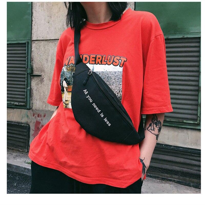 LXFZQ New fashion 2018 Letter women's waist bag for men Harajuku Style fanny pack phone bag Canvas Print bum bag heuptas pochete letter print makeup bag