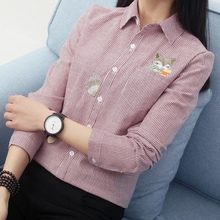 3d47d2f4f9540 Fox Embroidery Long Sleeve Women Blouses And Shirts Red Grey Beige Female  Ladies Casual Shirt Tops