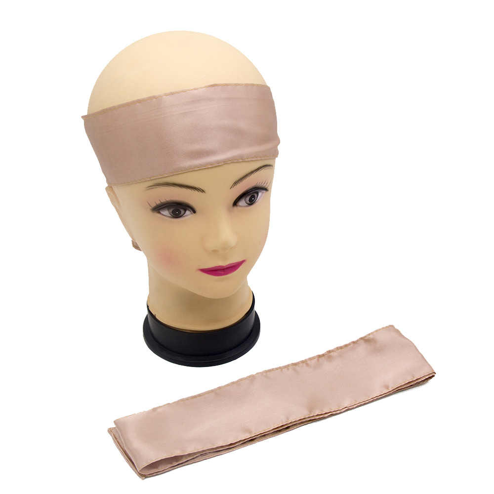 Blank Stock Satin Scarf Virgin Hair Extensions Wrapping Head Bands Women Human Hair Forehead Wraps Headband,Satin hair ti
