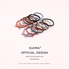 EUHRA 12 Colors Elastic Hair Bands Candy Color Bow For Women Girls Band Kid Children Rubber