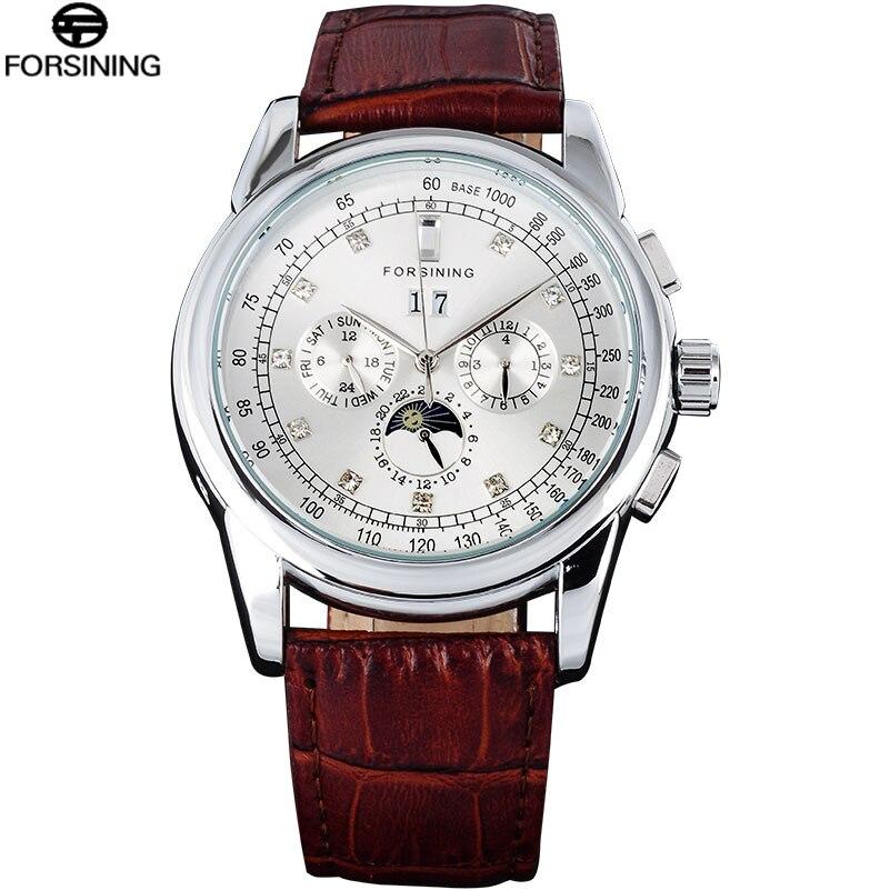 FORSINING Klassieke Mannen Horloge Top Merk Lederen Luxe Automatische Datum Mechanische Horloges Lichtgevende Handen Relogio Masculino-in Mechanische Horloges van Horloges op  Groep 1