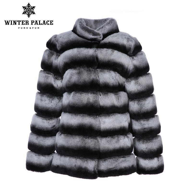 Nouveaux produits d'hiver rex lapin manteau Bleu Violet réel rex de fourrure de lapin manteau Chaud Épais De Fourrure D'hiver vestes Femmes Rex fourrure De lapin