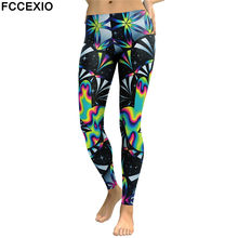 FCCEXIO New Design Leggings Women Galaxy Space Digital Print Plus Size Legging Fitness Leggins Slim Elastic Workout Pant Legins(China)