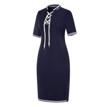 Women Plus Size Short Sleeves Polo T Shirt Top Stripe Bodycon Midi Pencil Dress