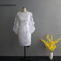 New Arrival White Short evening dress 2019 Lace Appliques Long sleeve evening dresses abendkleider Cheap evening gown