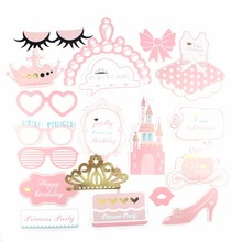 20 pcs Pink Princess Baby Shower Girl Photo Booth Props Bridal with Sticks For Wedding Birthday Decor