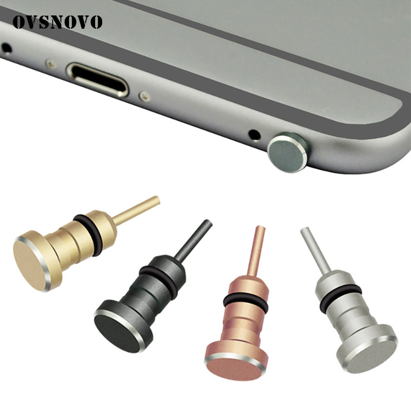 Metal Phone 2 in 1 Sim Card Tray Eject Pin Tool & 3.5mm Earphone Jack Dust Plug Dustproof Cap Gadget For iPhone 8 6s 5s xiaomi#1