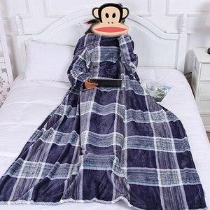 Image 5 - Couverture polaire épaisse avec manches, Plaid confortable, confortable, en peluche, pour canapé et couette, voyage, pour adulte