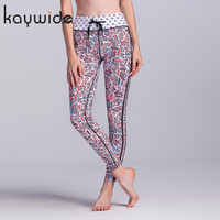 KAYWIDE 2017 Women Sporting Pants Series High Waist Colorful Lines Printed Leggings Fashion Fitness Stretch Slim