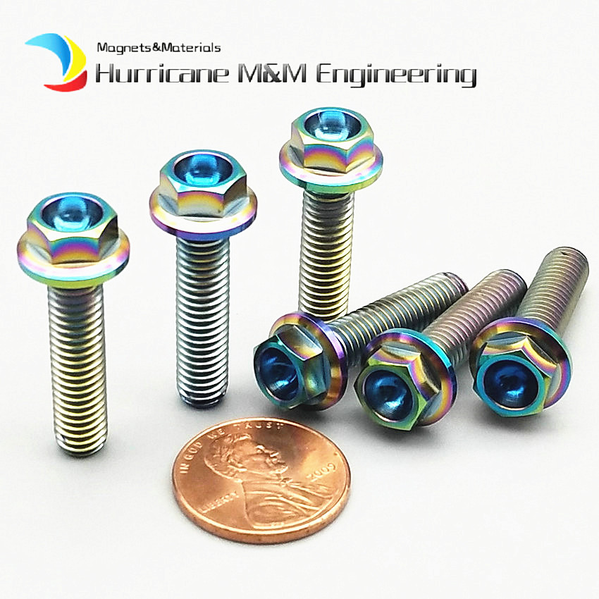 30pcs Ti Bolt M6 M6x10-60mm Motorcycle DIY MTB Titanium Bolts Ti Gold Multicolor Flange Head Hexagon Ti Screws Ti Fastener ti 1000