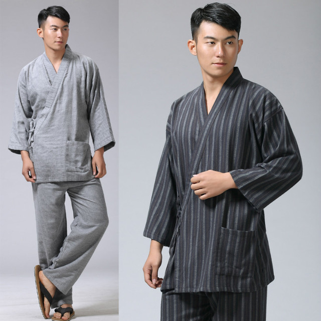 ad201f27477 Cotton Yukata Japanese Kimono Traditional Japanese Men s Clothing Japanese  Pajamas Men s Sleepwear Lounge Home Clothing Suits